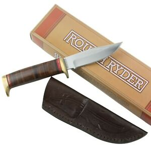 Rough Rider Brown Leather Wrapped Short Skinner Fixed Blade Hunter Knife RR1636