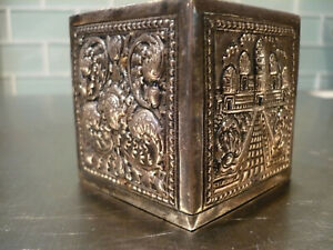 Antique 900 Sterling Silver Repousee Box Incense Spice Powder Shaker 124 grams