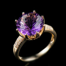 Solid 10K Yellow Gold Natural Purple Amethyst Diamond Gemstone Ring Jewelry