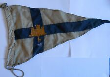 early navy pennant / flag  with castle and key to centre of  blue cross