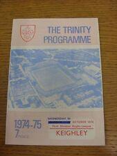 30/10/1974 programma Rugby League: Wakefield Trinity V keighley [programma datato