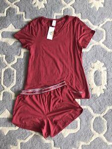 Calvin Klein Women Pajama Set Shorts V-neck T Shirt Size XL NWT