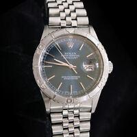 Rolex Datejust Mens Turn-O-Graph Thunderbird Stainless Steel Watch Blue 16264