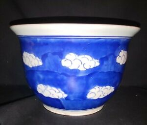 Antique Chinese Blue & White Porcelain Planter Signed in blue on Base