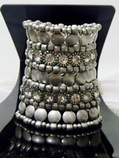 Silver Metal Stretch Chunky Heavy Bracelet Bangle Crystal New Chic