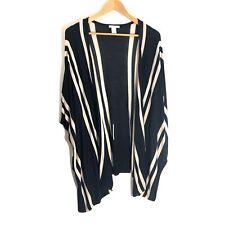 H&M Size XS Small Blue Stripe Open Front Kimono Sweater Boho Oversized Cardigan