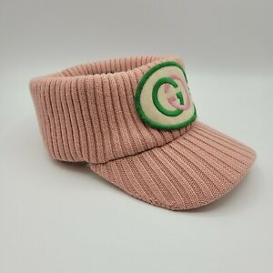 Gucci Women's Pink Knitted Wool Embroidered Patch Head Band Visor S 577825 5900