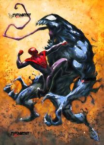 ACEO ATC Sketch Card - Spider-Man vs. Venom