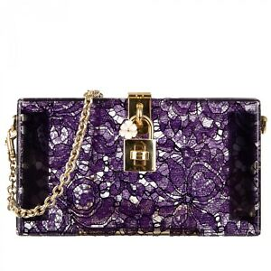 DOLCE & GABBANA Taormina Lace Plexiglass Clutch Bag DOLCE BOX Purple 09685