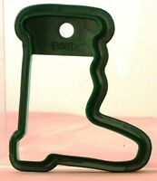 """Large SANTA BOOT Plastic Cookie Cutter STURDY w. Hanging HOLE Green 3.5"""" x 3"""""""