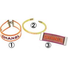 Authentic CHANEL Vintage CC Logos Rubber Bracelet Hair Barrette 3 Set K06850