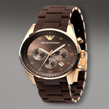 EMPORIO SUPER LUXURY ARMANI AR5890 BROWN STRAP CHRONOGRAPH MENS WATCH GIFT