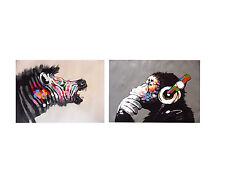 ZEBRA RAINBOW & dj monkey thinker APE  CANVAS print painting 2X 70cm x 55cm