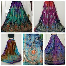 Boho Hippie Gypsy Long Sequin Party Skirt Rayon TIE DYE One Size 6 8 10 12 14