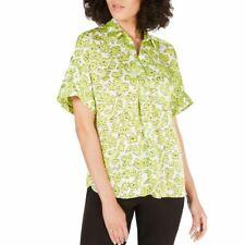 ALFANI Women's Floral-print Satin Collared Blouse Shirt Top TEDO
