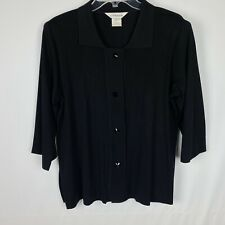 Exclusively Misook Cardigan Sweater Size S Black Button Front Collar Jacket