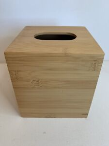 Thomas O'Brien Bamboo Tissue Cube Holder Cover Wood Vintage Modern
