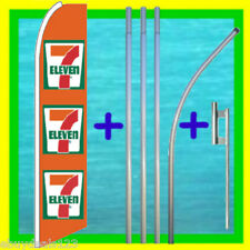 Seven 7 Eleven Advertising Feather Flag + 15' Tall Pole Kit Swooper Bow Banner