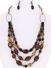 THREE LAYERS MULTI BROWN TORTOISE BLACK GLASS & LUCITE BEAD NECKLACE EARRING