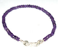 925 Sterling Silver Purple Amethyst Gemstone 5-10 Inch Bracelet 4-4.5 mm H33