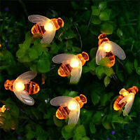 LED Solar Garden Decor Light Outdoor Waterproof Christmas Honey Bee Fairy Lights