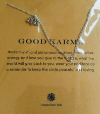 Unique Gift Sacred Lotus Inspired Charm Good Karma Yoga Silver Plated Necklace
