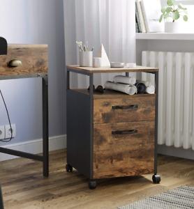 Industrial Filing Cabinet Office Storage Desk Unit Vintage Rustic Wheels Drawers