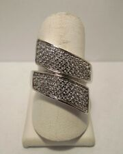 Hallmarked ADI - CZ - Sterling Silver - Large Bypass Statement Ring
