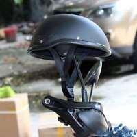Low Profile Half Skull Biker Helmet For Chopper Bobber Cruiser Bikes Matte Black