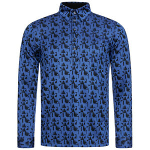PUMA Jacquard Herren Golf Freizeit Langarm Polo-Shirt 923194-02 Gr. L blau neu
