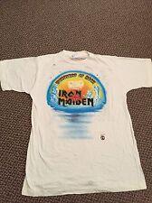 Rare Iron Maiden 1988 White VTG Shirt 100% Cotton Metal Tour Shirt Judas priest