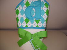 "Mud Pie Baby Towel Blue Initial Hooded "" d ""Towel Blue Green Cotton Bath Blanket"