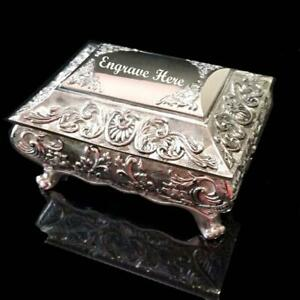 FABULOUS Embossed Antique/Vintage Style Silver Plated Ladies Jewellery Box Gift