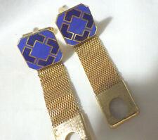Navy Colors Gold Mesh Tone Vintage Wrap Enamel Cufflinks Blue And