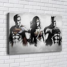 Superman Wonder Woman Batman Home Decor Room HD Canvas Print Wall Art Painting