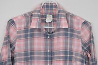 J Crew Perfect Shirt sz 0 Long Sleeve Button Up Plaid Cotton Pink Blue