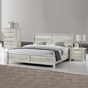 Queen Size Bedroom Suite MDF Bed Bedside Tallboy 4pcs White Ash Colour Alice