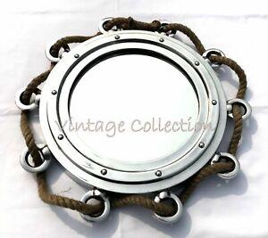 "16"" Aluminium Hanging Wall Mirror with Jute Rope Chrome Porthole Mirror Decor"
