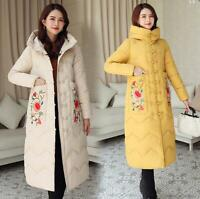 Winter Women Chinese Embroidered Hooded Down Cotton Padded Warm Jacket Long Coat