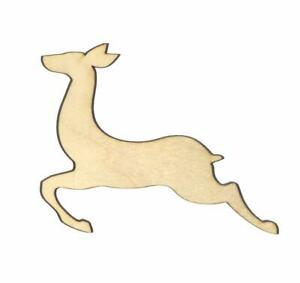 Leaping Reindeer Unfinished Wood Shape Cut Out L11740 Lindahl Woodcrafts