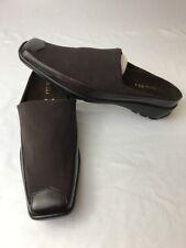 Vaneli Viktoria Western Brown Leather Slip-on Loafer Mule Clog Stretch Womens 8N