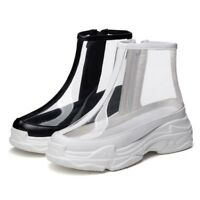 Womens Clear Ankle Rain Boots Creepers New Casual Ultra Light Platform Shoes New