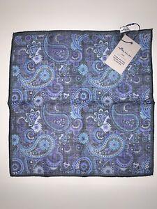 NWT Peter Millar Pocket Square Blue Paisley