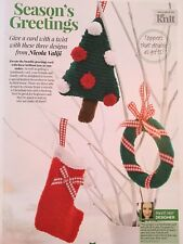 KNITTING PATTERN 3 Christmas Decorations Tree Wreath Stocking Hayfield PATTERN