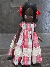 Nancy Ann Storybook Doll Topsy African American Plastic Red Plaid Dress Vintage