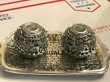 PAIR OF JUDAICA AMY SOUVENIRS CANDLE HOLDER SET W/TRAY STERLING SILVER 925