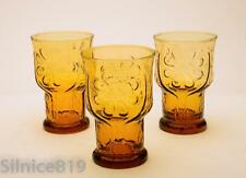 Libby Glass Country Garden Daisy Amber Juice Glass Set of 3  Classic '60 Glasses