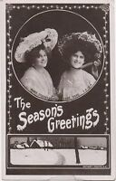 POSTCARD  ACTRESSES / NAME CARDS  Marie Studholme & Zena Dare   Seasons Greets