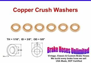 "COPPER CRUSH WASHERS - 3/8"" ID"