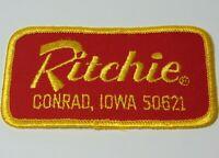 "4"" Vintage 1970s RITCHIE INDUSTRIES FRESH WATER CONRAD IOWA ADVERTISING PATCH"